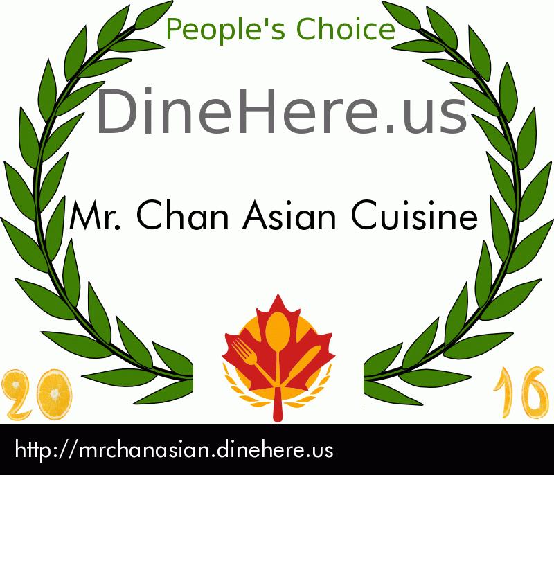 Mr. Chan Asian Cuisine DineHere.us 2016 Award Winner