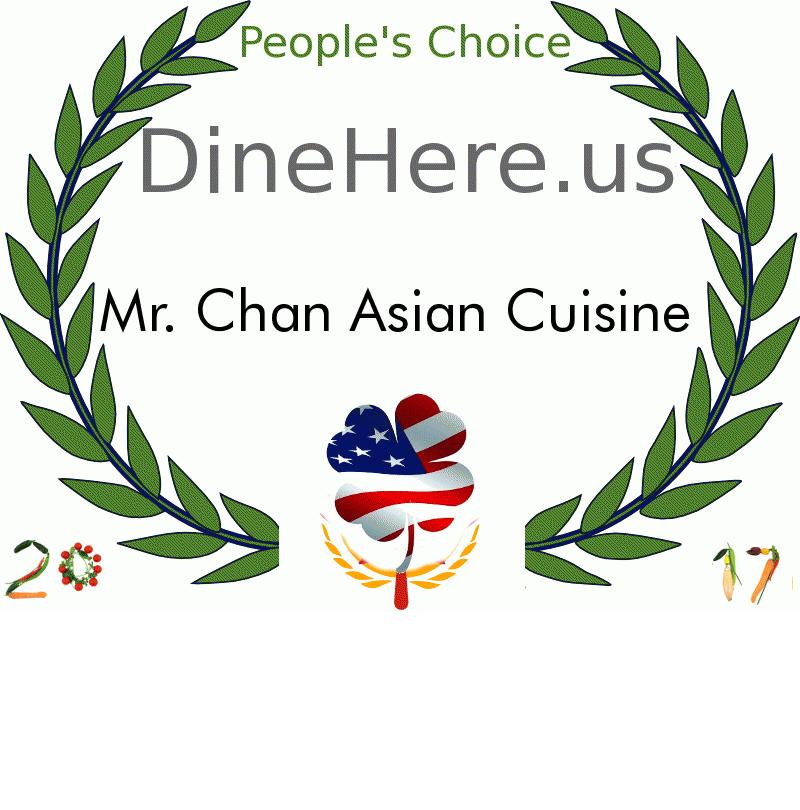 Mr. Chan Asian Cuisine DineHere.us 2017 Award Winner